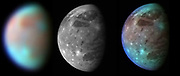 This montage compares New Horizons' best views of Ganymede, Jupiter's largest moon, gathered with the spacecraft's Long Range Reconnaissance Imager (LORRI) and its infrared spectrometer, the Linear Etalon Imaging Spectral Array (LEISA). Blue colours represent relatively clean water ice, while brown colours show regions contaminated by dark material. The right panel combines the high-resolution rescale LORRI image with the color-coded compositional information from the LEISA image, producing a picture that combines the best of both data sets.