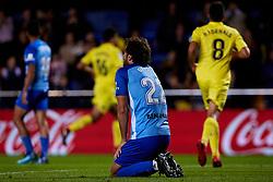 November 5, 2017 - Vila-Real, Vila-real, Spain - Baysse (C) of Malaga CF kneels on the pitch during the La Liga match between Villarreal CF and Malaga CF at Estadio de la Ceramica on November 5, 2017 in Vila-real, Spain  (Credit Image: © David Aliaga/NurPhoto via ZUMA Press)