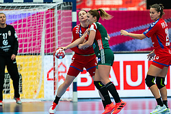 Sladana Pop Zic of Serbia, Katrinn Klujber of Hungary in action during the Women's EHF Euro 2020 match between Serbia and Hungary at Sydbank Arena on december 06, 2020 in Kolding, Denmark (Photo by RHF Agency/Ronald Hoogendoorn)