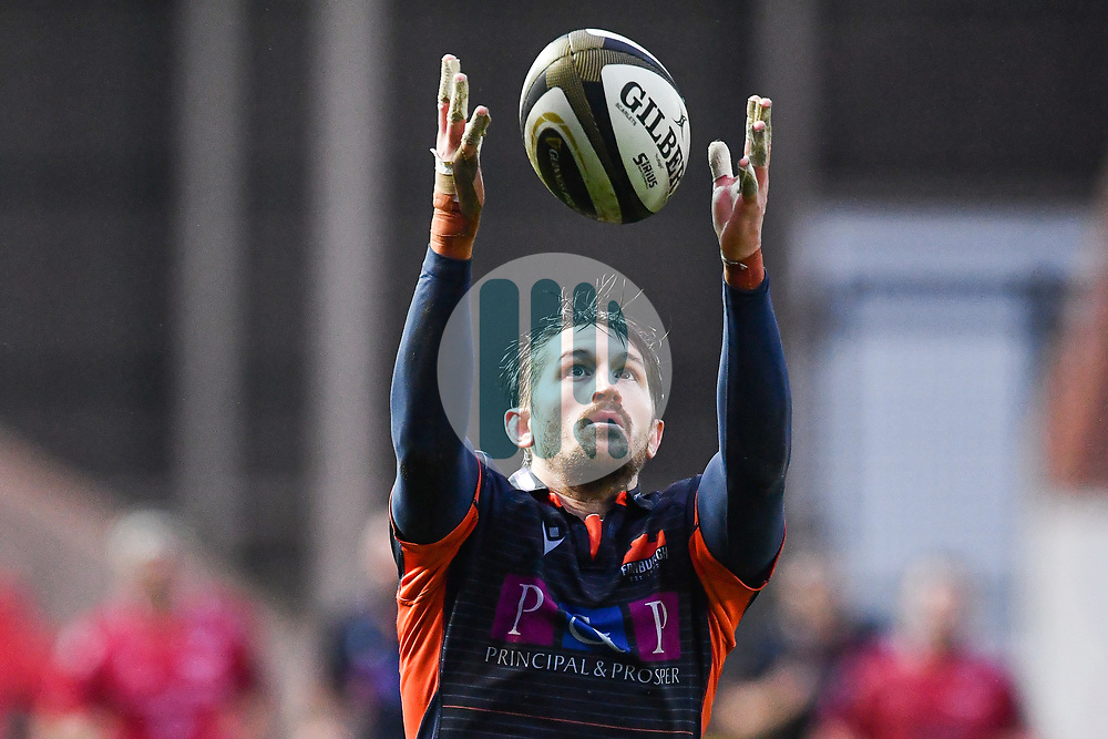 Henry Pyrgos of Edinburgh in action during todays match<br /> <br /> Photographer Craig Thomas/Replay Images<br /> <br /> Guinness PRO14 Round 11 - Scarlets v Edinburgh - Saturday 15th February 2020 - Parc y Scarlets - Llanelli<br /> <br /> World Copyright © Replay Images . All rights reserved. info@replayimages.co.uk - http://replayimages.co.uk