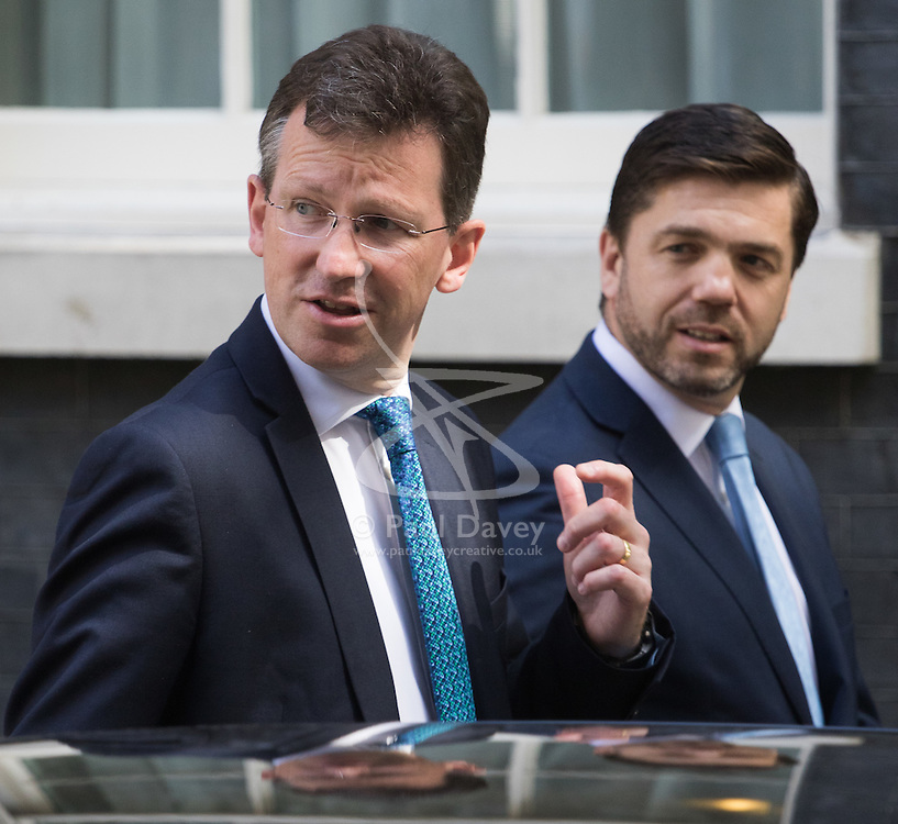 Attorney General Jeremy Wright and Work and Pensions Secretary Stephen Crabb leave Prime Minister David Cameron's final cabinet meeting following Theresa May's anticipated takeover as Leader of the Conservative Party and Prime Minister on Wednesday 13th July 2016.