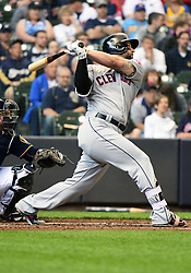 May 9, 2018 - Milwaukee, WI, U.S. - MILWAUKEE, WI - MAY 09: Cleveland Indians First base Yonder Alonso (17) hits a double during a MLB game between the Milwaukee Brewers and Cleveland Indians on May 9, 2018 at Miller Park in Milwaukee, WI.The Indians defeated the Brewers 6-2.(Photo by Nick Wosika/Icon Sportswire) (Credit Image: © Nick Wosika/Icon SMI via ZUMA Press)