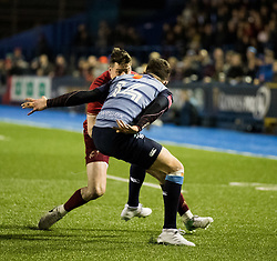 Munster's Ronan O'Mahony lines up Cardiff Blues' Aled Summerhill<br /> <br /> Photographer Simon King/Replay Images<br /> <br /> Guinness PRO14 Round 15 - Cardiff Blues v Munster - Saturday 17th February 2018 - Cardiff Arms Park - Cardiff<br /> <br /> World Copyright © Replay Images . All rights reserved. info@replayimages.co.uk - http://replayimages.co.uk