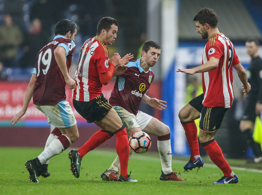 Burnley's Jon Flanagan and Joey Barton battle with Sunderland's Javi Manquillo and Fabio Borini <br /> <br /> Photographer Alex Dodd/CameraSport<br /> <br /> Emirates FA Cup Third Round Replay - Burnley v Sunderland - Tuesday 17th January 2017 - Turf Moor - Burnley<br />  <br /> World Copyright © 2017 CameraSport. All rights reserved. 43 Linden Ave. Countesthorpe. Leicester. England. LE8 5PG - Tel: +44 (0) 116 277 4147 - admin@camerasport.com - www.camerasport.com