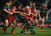 Rugby Union - 2019 / 2020 Gallagher Premiership - Northampton Saints v Sale Sharks - Franklin Gardens<br /> <br /> Sale Sharks' Akker van Der Merwe is tackled by Northampton Saints' Manny Iyogun.<br /> <br /> COLORSPORT/ASHLEY WESTERN