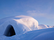 The entrance to an ice hotel in Kirkeness, Finnmark region, northern Norway