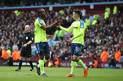 Derby County's Cameron Jerome celebrates scoring  the opening goal after error by Aston Villa's Neil Taylor (not pictured)
