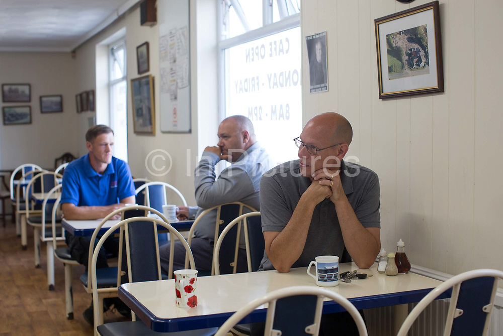Customers at Boss Hoggs, an independent roadside cafe along the old A12 in Copdock on the 23rd June 2017 in Suffolk, United Kingdom