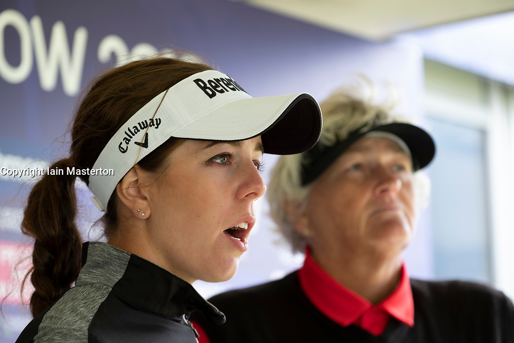 Gleneagles, Scotland, UK; 10 August, 2018.  Day three of European Championships 2018 competition at Gleneagles. Men's and Women's Team Championships Round Robin Group Stage. Four Ball Match Play format.  Pictured; Great Britain's Dame Laura Davies (r) and Georgia Hall  in post match press meeting. GB beat Belgium 4 and 2.