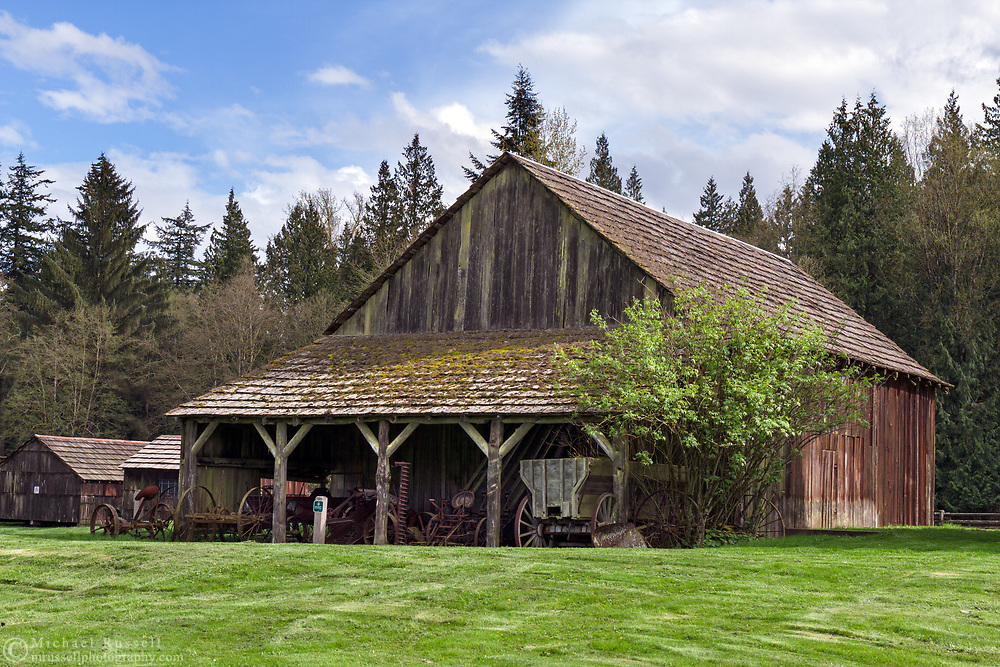 The Gable Roof Barn on the Annand Rowlatt Farmstead was built in 1898.  This farmland was first used by Joseph and Sarah Anne Annand and later by Len Rowlatt until his death in 1972.  The property is now part of Campbell Valley Regional Park in Langley, British Columbia, Canada.