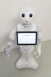 © Licensed to London News Pictures. 13/04/2016.  Pepper the robot at the 'World of Me' by Accenture, at the world's first Millennial 20/20 Business Summit. The two day event is the grand gathering of over 3000 startups, brands and retailers. London, UK. Photo credit: Ray Tang/LNP