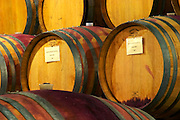Oak barrels for aging wine in the wine cellar. Saint Joseph rouge red 2004 Pecher Rouv. Domaine Yves Cuilleron, Chavanay, Ampuis, Rhone, France, Europe
