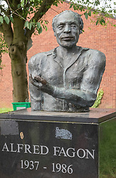 © Licensed to London News Pictures; 12/06/2020; Bristol, UK. File Picture dated 28/05/2018 of the statue of Jamaican-born playwright, poet and actor Alfred Fagon in St Pauls, Bristol. Today, 12 June 2020, the statue has been covered with what appears to be a corrosive substance thought to be bleach. At a Black Lives Matter protest on 07 June 2020 the statue of slave trader and philanthropist Edward Colston which has stood in Bristol city centre for over 100 years was pulled down with ropes and thrown in Bristol Docks by protesters during the BLM rally and march through the city centre in memory of George Floyd, a black man who was killed on May 25, 2020 in Minneapolis in the US by a white police officer kneeling on his neck for nearly 9 minutes. The killing of George Floyd has seen widespread protests in the US, the UK and other countries. Photo credit: Simon Chapman/LNP.