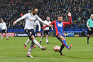 Bolton Wanderers Defender, Tom Thorpe (32) shoots  during the The FA Cup 3rd round match between Bolton Wanderers and Crystal Palace at the Macron Stadium, Bolton, England on 7 January 2017. Photo by Mark Pollitt.