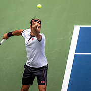 2019 US Open Tennis Tournament- Day Seven.  Roger Federer of Switzerland in action against David Goffin of Belgium in the Men's Singles round four match on Arthur Ashe Stadium during the 2019 US Open Tennis Tournament at the USTA Billie Jean King National Tennis Center on September 1st, 2019 in Flushing, Queens, New York City.  (Photo by Tim Clayton/Corbis via Getty Images)