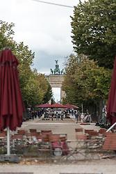 16 September 2021, Berlin, Germany: The historical site of Unter den Linden and Brandenburger Tor in Berlin.