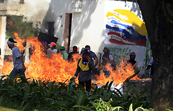 July 20, 2017 - Valencia, Carabobo, Venezuela - The civilian strike called by the table of the democratic unit, MUD (by its acronym in Spanish), was repressed in several cities, the detainees surpass the 30 people, there are more than a dozen wounded and two dead in Valencia, Carabobo state. : Juan Carlos Hernandez (Credit Image: © Juan Carlos Hernandez via ZUMA Wire)