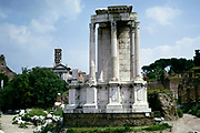 Ancient ruins of the House of the Vestal Virgins at the Roman Forum in Rome, Italy 1974