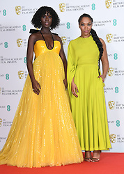 Jodie Turner-Smith and Naomi Ackie at the 73rd British Academy Film Awards held at the Royal Albert Hall, London.. Photo credit should read: Doug Peters/EMPICS
