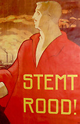 Vote Red. Slogan on a 1913 lithograph by Albert Hahn (1877-1918). This was the first election poster of the Dutch Social Democratic Labour Party.
