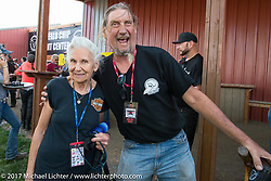 Ed Rieken and Gloria Struck at the Old Iron - Young Blood exhibition media and industry reception in the Motorcycles as Art gallery at the Buffalo Chip during the annual Sturgis Black Hills Motorcycle Rally. Sturgis, SD. USA. Sunday August 6, 2017. Photography ©2017 Michael Lichter.