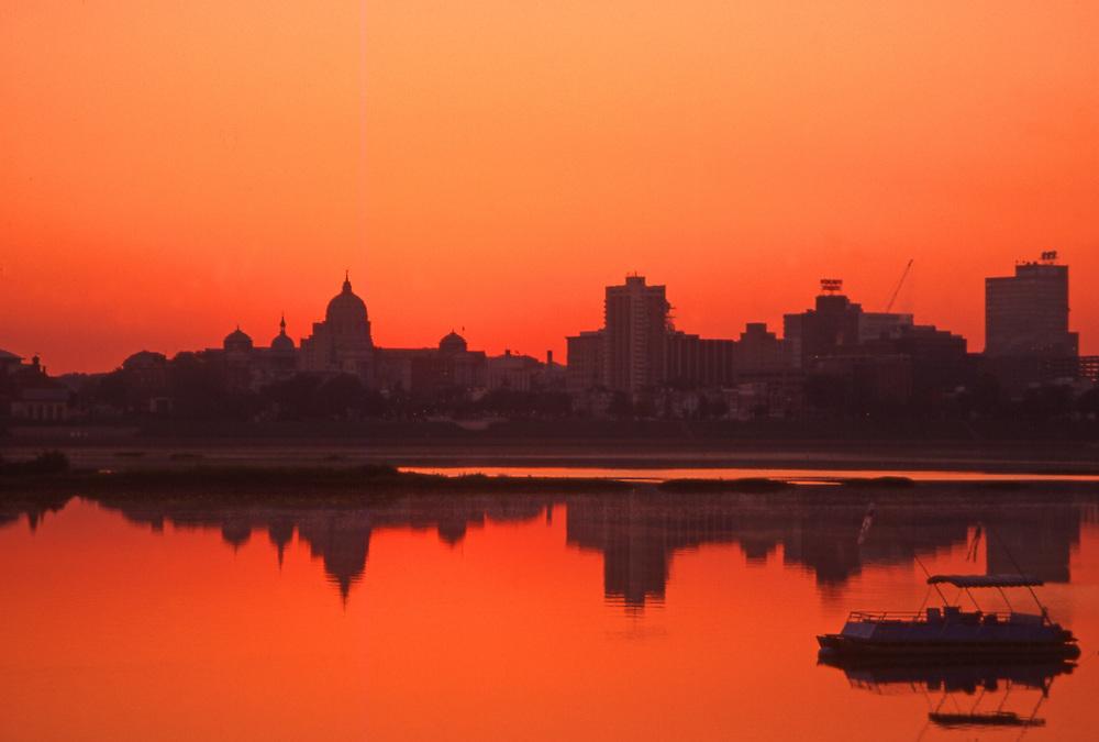 Sunrise, Harrisburg skyline, Reflective Susquehanna River, Pennsylvania