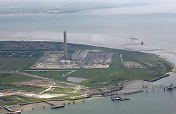 Image ©Licensed to i-Images Picture Agency. Aerial shots of Isle of Grain power station, Isle of Grain, Hoo peninsular, Kent. Picture by i-Images