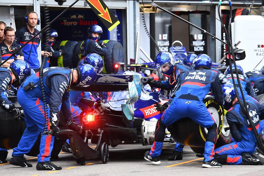 Pit-stop for Alexander Albon (Toro Rosso-Honda) during the 2019 Monaco Grand Prix. Photo: Grand Prix Photo