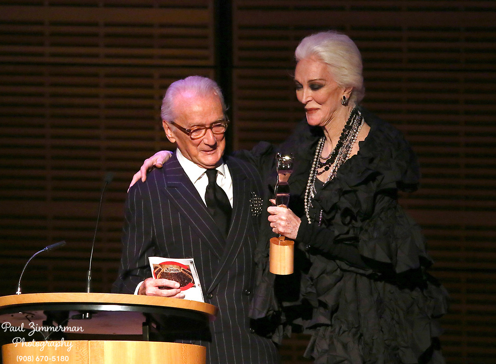 NEW YORK, NY - OCTOBER 27:  Outstanding Achievement in Fashion winner, Victor Skrebneski (L) and fashion model and actress Carmen Dell'Orefice attend the 11th Annual Lucie awards at Zankel Hall, Carnegie Hall on October 27, 2013 in New York City.  (Photo by Paul Zimmerman/WireImage)