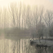 A misty and frozen winter dawn by the Sabor river, at the village of Gimonde, Portugal.