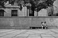 Young ladies with eyes glued to their phones at the American Museum of Natural History.