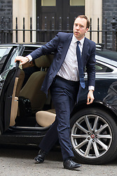 © Licensed to London News Pictures. 12/04/2018. London, UK. Secretary of State for Digital, Culture, Media and Sport Matt Hancock arriving in Downing Street to attend a 'War Cabinet' meeting this afternoon. Discussion is expected on Britain's involvement on military action in Syria, following a suspected chemical attack. Photo credit : Tom Nicholson/LNP