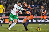 FOOTBALL - FRENCH CHAMPIONSHIP 2010/2011 - L1 - MONTPELLIER HSC v AS SAINT ETIENNE - 05/02/2011 - PHOTO SYLVAIN THOMAS / DPPI - LOIC PERRIN (ASSE) / GEOFFREY DERNIS (MON)