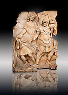 Photo of Roman releif sculpture of Aineas Fleeing Troy with his wife & children from the Oda first room, Aphrodisias, Turkey, Images of Roman art bas releifs. Buy as stock or photo art prints .<br /> <br /> If you prefer to buy from our ALAMY STOCK LIBRARY page at https://www.alamy.com/portfolio/paul-williams-funkystock/greco-roman-sculptures.html . Type -    Aphrodisias     - into LOWER SEARCH WITHIN GALLERY box - Refine search by adding a subject, place, background colour, museum etc.<br /> <br /> Visit our ROMAN WORLD PHOTO COLLECTIONS for more photos to download or buy as wall art prints https://funkystock.photoshelter.com/gallery-collection/The-Romans-Art-Artefacts-Antiquities-Historic-Sites-Pictures-Images/C0000r2uLJJo9_s0