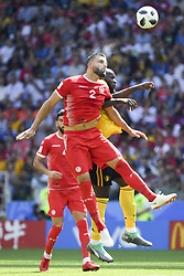 June 23, 2018 - Moscow, Russia - Syam Ben Youssef of Tunisia and Romelu Lukaku of Belgium jump for the ball during the 2018 FIFA World Cup Group G match between Belgium and Tunisia at Spartak Stadium in Moscow, Russia on June 23, 2018  (Credit Image: © Andrew Surma/NurPhoto via ZUMA Press)