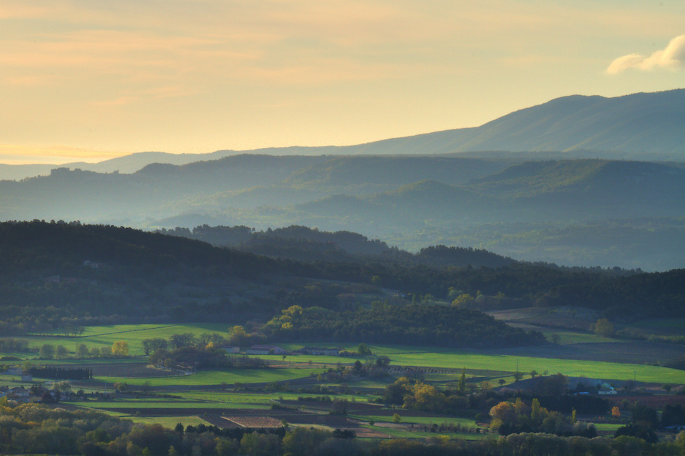 Sunset view of the countryside looking from Gordes, France.