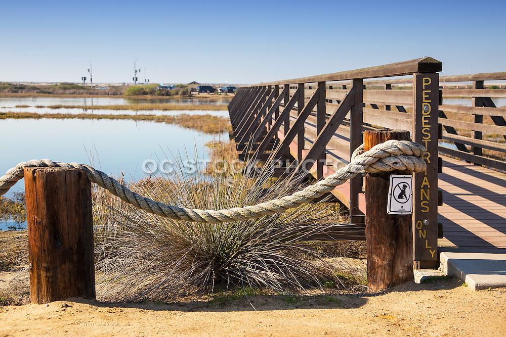 Wooden Pedestrian Bridge at Bolsa Chica Wetlands in Huntington Beach California