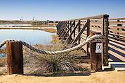 Wooden Pedestrian Bridge at Bolsa Chica Wetlands in Huntington Beach California