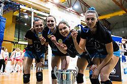 Olivera Kostic of Calcit Volley, Lucille June Charuk of Calcit Volley, Katja Mihevc of Calcit Volley and Andjelka Radiskovic of Calcit Volley with medals and trophy after 3rd Leg Volleyball match between Calcit Volley and Nova KBM Maribor in Final of 1. DOL League 2020/21, on April 17, 2021 in Sportna dvorana, Kamnik, Slovenia. Photo by Matic Klansek Velej / Sportida