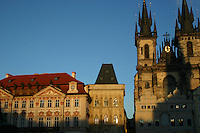 Evening sunlight on colourful buildings at at Old Town Square in Prague, Czech Republic<br />