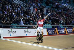 Maximilian Levy celebrates winning the Men's Keirin Final during day two of the Six Day Series Manchester at the HSBC UK National Cycling Centre.
