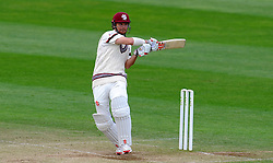 Somerset's James Hildreth pulls the ball. Photo mandatory by-line: Harry Trump/JMP - Mobile: 07966 386802 - 11/05/15 - SPORT - CRICKET - Somerset v New Zealand - Day 4 - The County Ground, Taunton, England.