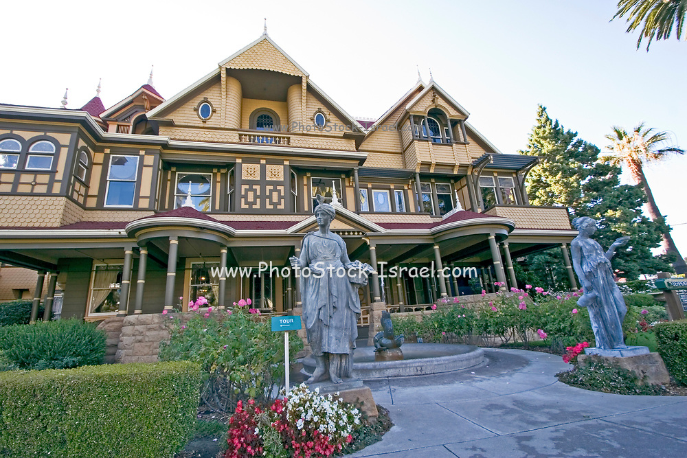 San Jose California USA, exterior of the winchester mystery house a Victorian mansion, designed and built Sarah L. Winchester construction began in 1884