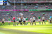 Romania win a line out during the Rugby World Cup Pool D match between Ireland and Romania at Wembley Stadium, London, England on 27 September 2015. Photo by Phil Duncan.