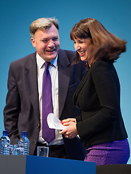 © Licensed to London News Pictures . 23/09/2013 . Brighton , UK . Ed Balls and Rachel Reeves after Rachel Reeves , Shadow Chief Secretary to the Treasury , addresses the conference during the Work and Business Stability and Prosperity session this afternoon (Monday 23rd September 2013) on Work and Business Stability and Prosperity. Day 2 of the Labour Party 's annual conference in Brighton . Photo credit : Joel Goodman/LNP