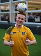 Australian rugby fan posing with a ball during the Rugby World Cup Pool A match between England and Australia at Twickenham, Richmond, United Kingdom on 3 October 2015. Photo by Matthew Redman.