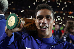 September 9, 2018 - Paris, 93, France - Raphael Varane of France celebrates with the World Cup Trophy after the UEFA Nations League A group official match between France and Netherlands at Stade de France on September 9, 2018 in Paris, France. This is the first match of the French football team at the Stade de France since their victory in the final of the World Cup in Russia. (Credit Image: © Mehdi Taamallah/NurPhoto/ZUMA Press)