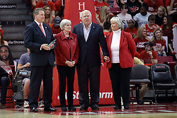 22 February 2017:  Larry Lyons, Sandi and Steve Adams, Mrs. Weisbecker.  Sandi and Steve presented with the Joseph F. WarnerGolden Redbird Award during a College MVC (Missouri Valley conference) mens basketball game between the Southern Illinois Salukis and Illinois State Redbirds in  Redbird Arena, Normal IL
