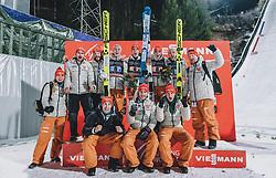 29.02.2020, Salpausselkae Hill, Lahti, FIN, FIS Weltcup Ski Sprung, Herren, Teamspringen, Siegerehrung, im Bild Sieger Deutschland, Karl Geiger (GER), Stephan Leyhe (GER), Constantin Schmid (GER), Pius Paschke (GER) // Winner Germany Karl Geiger (GER) Stephan Leyhe (GER) Constantin Schmid (GER) Pius Paschke (GER) during the winner ceremony for the men's team event of FIS Ski Jumping World Cup at the Salpausselkae Hill in Lahti, Finland on 2020/02/29. EXPA Pictures © 2020, PhotoCredit: EXPA/ JFK
