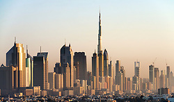 Evening skyline view of skyscrapers along Sheikh Zayed Road in Dubai United Arab Emirates